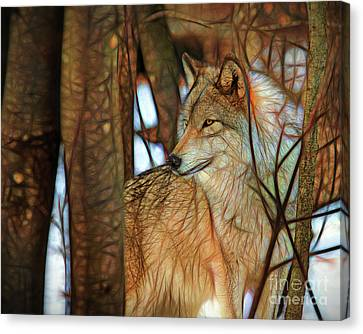 Timber Wolf Colorful Art Canvas Print