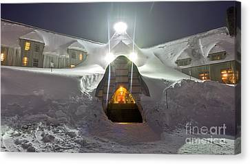 Timberline Lodge Entry Mt Hood Snowdrifts Canvas Print by Dustin K Ryan