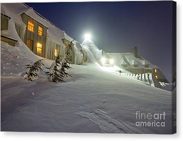 Snow Drifts Canvas Print - Timberline Lodge Mt Hood Snow Drifts At Night by Dustin K Ryan