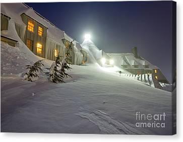 Timberline Lodge Mt Hood Snow Drifts At Night Canvas Print