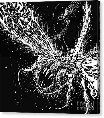 Canvas Print featuring the digital art Time Aerials Squamafly Woodcut by Russell Kightley