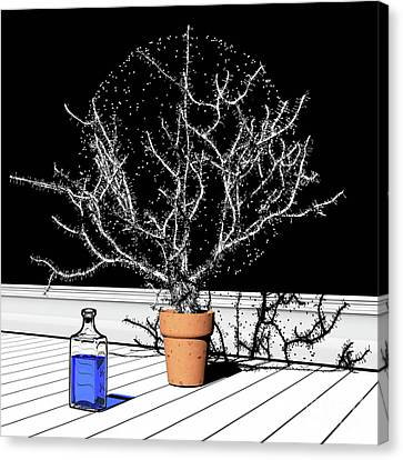 Canvas Print featuring the digital art Time Aerials Time Aerials In A Pot by Russell Kightley