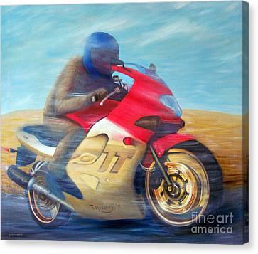 Time And Space Equation - Triumph 600tt Canvas Print by Brian  Commerford