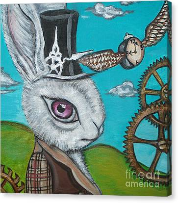 Time Flies For The White Rabbit Canvas Print by Jaz Higgins