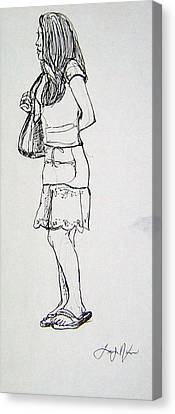 Canvas Print featuring the drawing Time For Serious Shopping by Lee Nixon