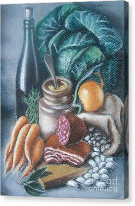 Canvas Print featuring the painting Time For Soup by Inese Poga