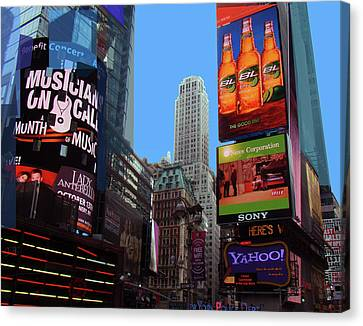 Canvas Print featuring the photograph Times Square 2 by Walter Fahmy