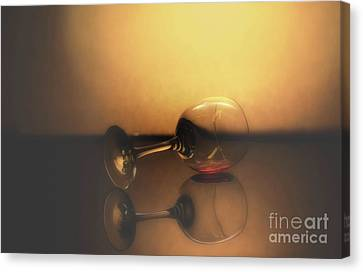 Wine Reflection Art Canvas Print - Time To Go Home by Arnie Goldstein