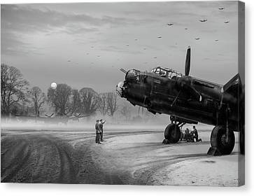 Time To Go - Lancasters On Dispersal Bw Version Canvas Print by Gary Eason