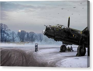 Time To Go - Lancasters On Dispersal Canvas Print by Gary Eason