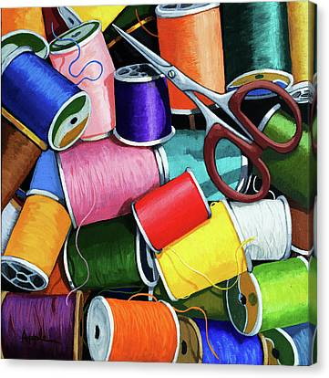 Canvas Print featuring the painting Time To Sew - Colorful Threads by Linda Apple