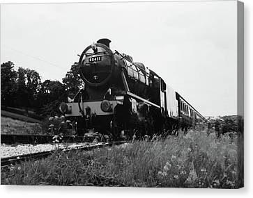 Canvas Print featuring the photograph Time Travel By Steam B/w by Martin Howard