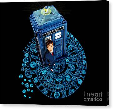 Time Traveller At Arch Of Time Zone Canvas Print by Three Second