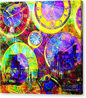 Timeless Art St Lazare Train Station Paris 20160228 Square Canvas Print by Wingsdomain Art and Photography