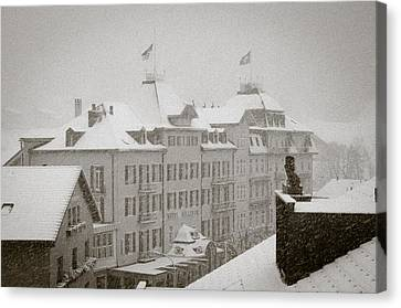 Alps Canvas Print - Timeless Engelberg Snow Storm In Historic Centre Of Engelberg Switzerland by Andy Smy