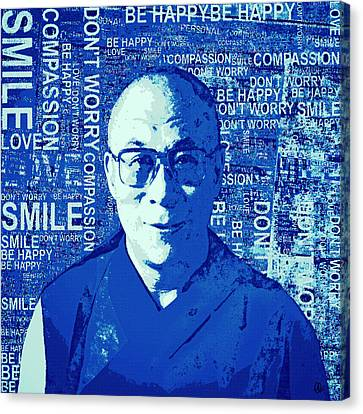 Timeless Wisdom - Retro Pop Art, Blue Canvas Print