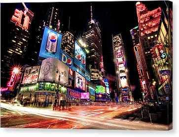 Times Square 2010 New Year Neon Canvas Print by Josh Liba