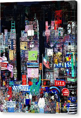 Times Square Canvas Print - Times Square At Night by Andy  Mercer