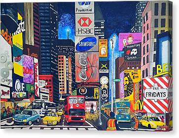 Times Square Canvas Print by Autumn Leaves Art