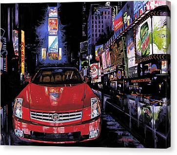 Times Square ....cadillac Canvas Print by Mike Hill