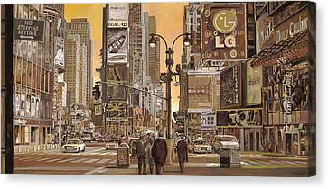 Times Square Canvas Print by Guido Borelli
