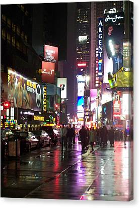 Times Square In The Rain 1 Canvas Print by Anita Burgermeister