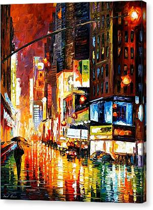 Times Square Canvas Print by Leonid Afremov
