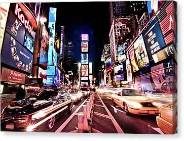 Glowing Canvas Print - Times Square, Manhattan, New York by Josh Liba