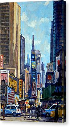 Hill District Canvas Print - Times Square Morning New York City by Thor Wickstrom