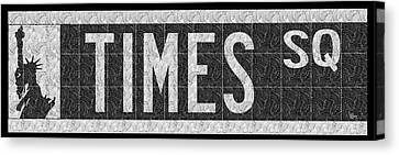 Liberty Avenue Canvas Print - Times Square New York City Street Sign Deco Swing by Cecely Bloom