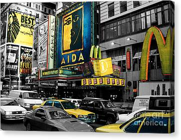 Times Square Nyc Canvas Print by Guy Harnett
