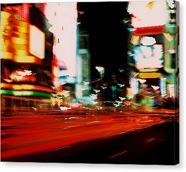 Times Square Painted Canvas Print by Brad Rickerby