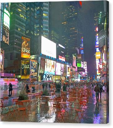 Times Square Red Rain Canvas Print