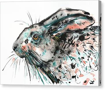 Canvas Print featuring the painting Timid Hare by Zaira Dzhaubaeva