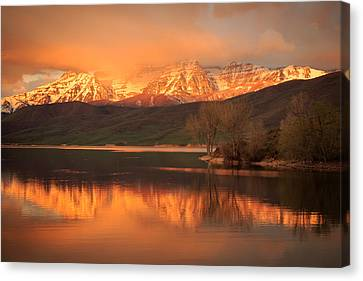 Timpanogos On Fire. Canvas Print by Johnny Adolphson