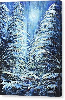 Canvas Print featuring the painting Tim's Winter Forest by Holly Carmichael