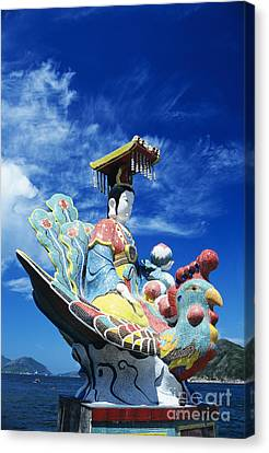 Tin Hua Temple Closeup Of Colorful Statue Canvas Print by Gloria and Richard Maschmeyer - Printscapes