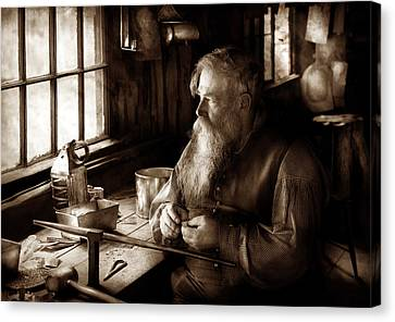 Tin Smith - Making Toys For Children - Sepia Canvas Print by Mike Savad