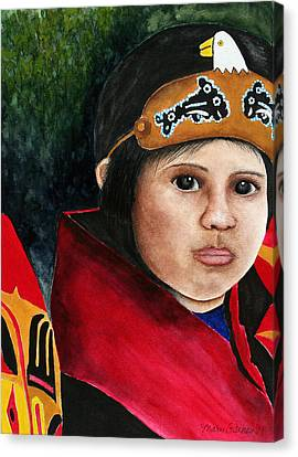 Tinglit Native Girl Canvas Print by Mary Gaines