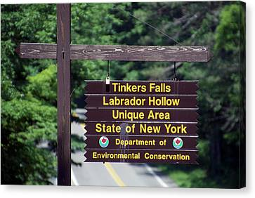 Tinkers Falls Labrador Hollow New York Signage Canvas Print by Thomas Woolworth