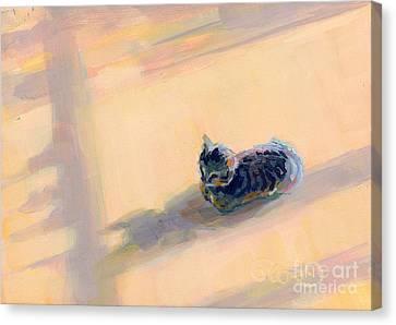Gray Tabby Canvas Print - Tiny Kitten Big Dreams by Kimberly Santini