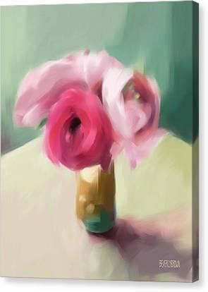 Tiny Pink Ranunculus Floral Art Canvas Print