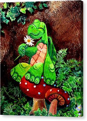 Tiny Toadstool Turtle Canvas Print
