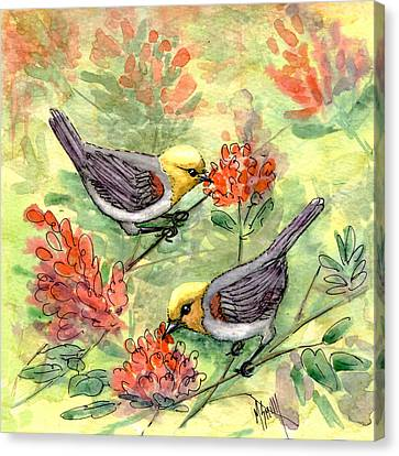 Canvas Print featuring the painting Tiny Verdin In Honeysuckle by Marilyn Smith