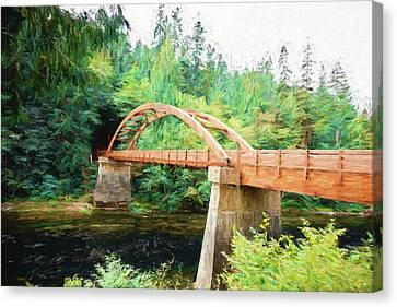 Tioga Bridge Over The Umpqua - Digital Painting Canvas Print