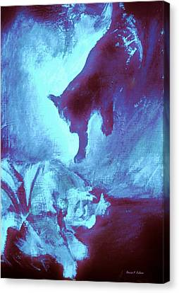 Canvas Print featuring the painting Tip Toeing On Little Cat Feet by Denise Fulmer