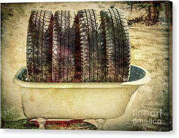 Ply Canvas Print - Tires In The Bathtub by Chellie Bock