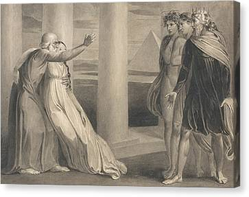 Tiriel Supporting The Dying Myratana And Cursing His Sons Canvas Print by William Blake