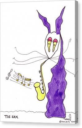 Tis Sax Lady Canvas Print by Tis Art
