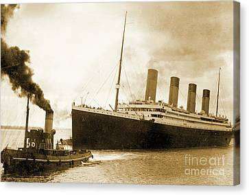 Titanic Leaving Port On It's Maiden Voyage, Circa 1912 Canvas Print by English School